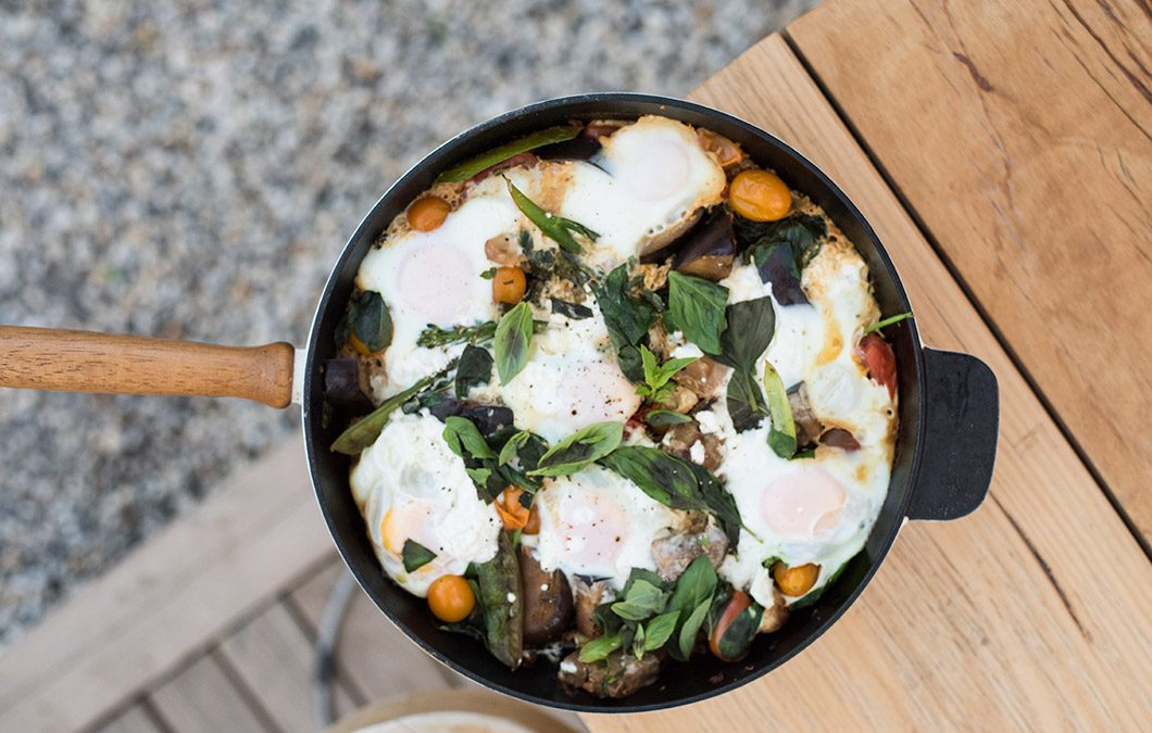 Baked Eggs, glamping style